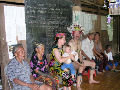 Borneo Project founder Joe Lamb and family in Borneo